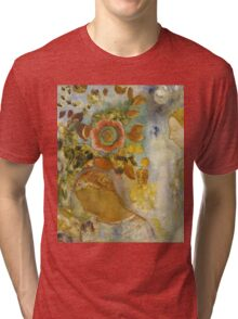 Odilon Redon - Two Young Girls Among Flowers 1912. Garden landscape: garden view, trees and flowers, blossom, Girls,  Young,  Among Flowers, wonderful flowers, dream, think, garden, flower Tri-blend T-Shirt
