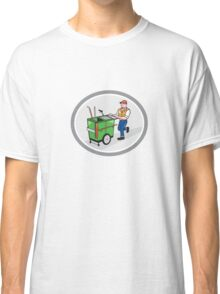 Street Cleaner Pushing Trolley Oval Cartoon Classic T-Shirt