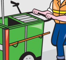 Street Cleaner Pushing Trolley Oval Cartoon Sticker