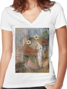 Pandora - Pandora. Garden landscape: garden view, trees and flowers, blossom, nature, woman, Mystery, wonderful flowers, dream, think, garden, flower Women's Fitted V-Neck T-Shirt