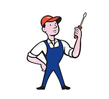Electrician Standing Holding Screwdriver Cartoon Photographic Print