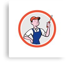 Electrician Standing Screwdriver Circle Cartoon Canvas Print