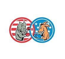 Boxing Democrat Donkey Versus Republican Elephant Mascot by patrimonio