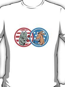 Boxing Democrat Donkey Versus Republican Elephant Mascot T-Shirt