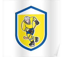 Ice Hockey Player With Stick Shield Cartoon Poster