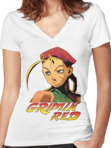 Cammy street fighter Women's Fitted V-Neck T-Shirt