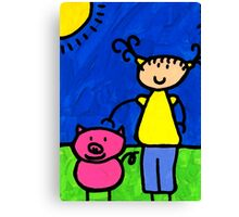 Happi Arte 1 - Girl With Pink Pig Art Canvas Print