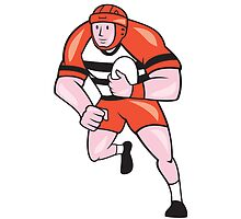 Rugby Player Running With Rugby Ball Cartoon by patrimonio