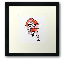 Rugby Player Running With Rugby Ball Cartoon Framed Print