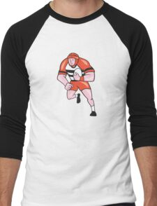 Rugby Player Running With Rugby Ball Cartoon Men's Baseball ¾ T-Shirt
