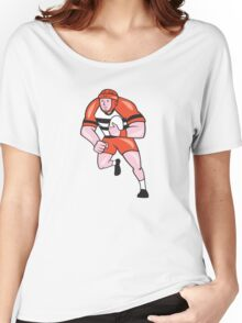 Rugby Player Running With Rugby Ball Cartoon Women's Relaxed Fit T-Shirt