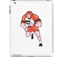 Rugby Player Running With Rugby Ball Cartoon iPad Case/Skin