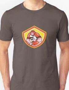 Rugby Player Holding Ball Shield Cartoon Unisex T-Shirt