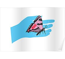 BOLD BRIGHT BUTTERFLY BLUE HAND Poster