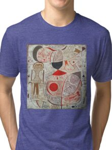 Paul Klee - Printed Sheet With Picture. Abstract painting: abstract art, geometric, woman, composition, lines, forms, creative fusion, spot, shape, illusion, fantasy future Tri-blend T-Shirt