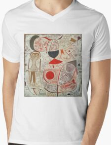 Paul Klee - Printed Sheet With Picture. Abstract painting: abstract art, geometric, woman, composition, lines, forms, creative fusion, spot, shape, illusion, fantasy future Mens V-Neck T-Shirt