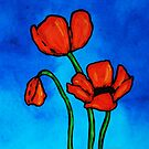 Bold Red Poppies - Colorful Flowers Art by Sharon Cummings