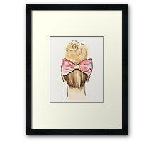 Pink bow, big bun Framed Print