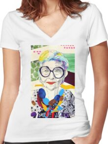 Iris Apfel fanart Women's Fitted V-Neck T-Shirt