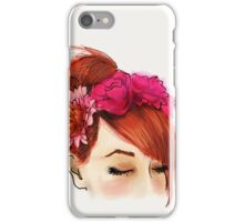 Red hair and flowers crown iPhone Case/Skin