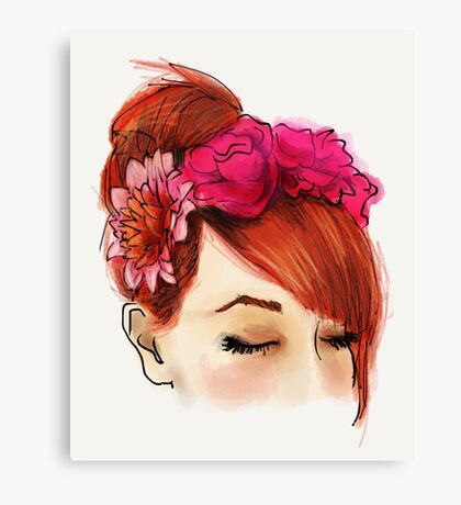 Red hair and flowers crown Canvas Print