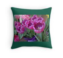 Forever Springtime Tulips Throw Pillow! (Green Border) Throw Pillow