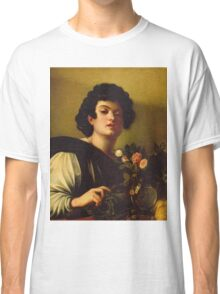 Michelangelo Merisi Da Caravaggio - Boy With A Carafe Of Roses . Man portrait: Young man, curly head, male, secular,  young, masculine, boyfriend, smile, still life , sexy men, Roses  Classic T-Shirt