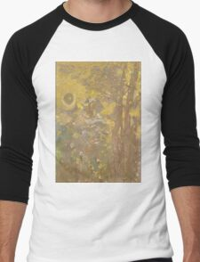 Odilon Redon - Trees On A Yellow Background 1901. Garden landscape: garden view, trees and flowers, blossom, nature, botanical park, floral flora, wonderful flowers, plants, cute plant, garden, flower Men's Baseball ¾ T-Shirt