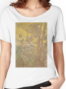 Odilon Redon - Trees On A Yellow Background 1901. Garden landscape: garden view, trees and flowers, blossom, nature, botanical park, floral flora, wonderful flowers, plants, cute plant, garden, flower Women's Relaxed Fit T-Shirt