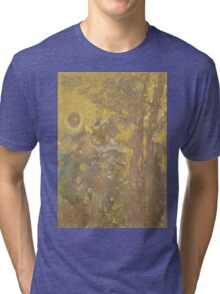 Odilon Redon - Trees On A Yellow Background 1901. Garden landscape: garden view, trees and flowers, blossom, nature, botanical park, floral flora, wonderful flowers, plants, cute plant, garden, flower Tri-blend T-Shirt