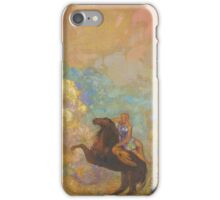 Odilon Redon - Muse On Pegasus 1907 . Garden landscape: garden, trees and flowers, blossom, Muse, woman, horse, wonderful flowers, dream, think, garden, flower iPhone Case/Skin