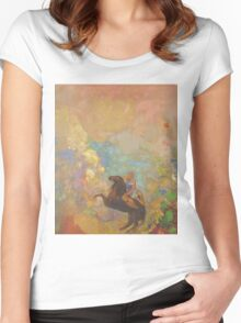 Odilon Redon - Muse On Pegasus 1907 . Garden landscape: garden, trees and flowers, blossom, Muse, woman, horse, wonderful flowers, dream, think, garden, flower Women's Fitted Scoop T-Shirt