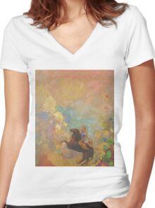 Odilon Redon - Muse On Pegasus 1907 . Garden landscape: garden, trees and flowers, blossom, Muse, woman, horse, wonderful flowers, dream, think, garden, flower Women's Fitted V-Neck T-Shirt