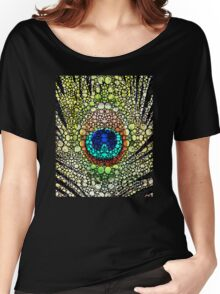 Peacock Feather - Stone Rock'd Art by Sharon Cummings Women's Relaxed Fit T-Shirt