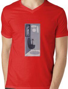 Gato Gray Mens V-Neck T-Shirt