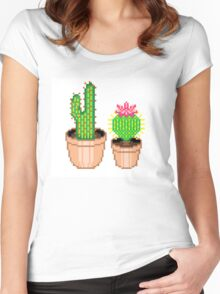 Pixel Cacti Women's Fitted Scoop T-Shirt