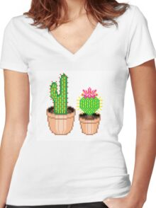 Pixel Cacti Women's Fitted V-Neck T-Shirt