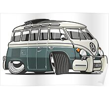 VW T1 23 window cartoon green Poster