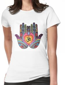Om Mandala Hands Womens Fitted T-Shirt