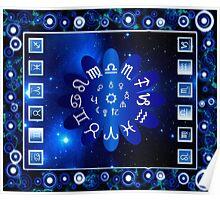 Blue Horoscopes Astrology Art Poster
