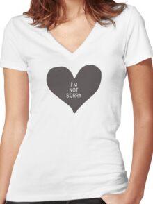 """""""I'm not sorry"""" (print inside heart) Women's Fitted V-Neck T-Shirt"""