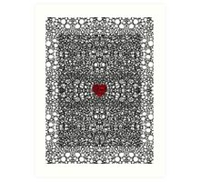 Pattern 19 - Heart Art - Black And White Exquisite Pattern By Sharon Cummings Art Print