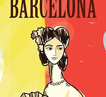 Barcelona vintage travel poster by Nick  Greenaway