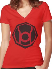 Red Lantern Corps symbol Women's Fitted V-Neck T-Shirt