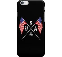Vintage USA Est 1776 Flags iPhone Case/Skin