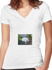 Casper!  I'll tend to the watering! Women's Fitted V-Neck T-Shirt