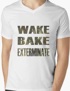 WAKE BAKE EXTERMINATE Mens V-Neck T-Shirt