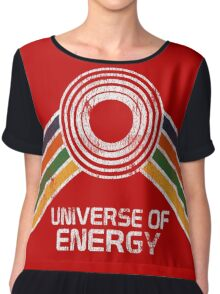 Universe of Energy Logo in Vintage Distressed Style Chiffon Top