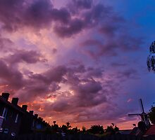 colorful sunset over Holland by stresskiller