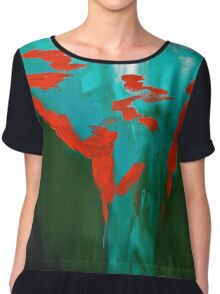 A Touch of Red Chiffon Top